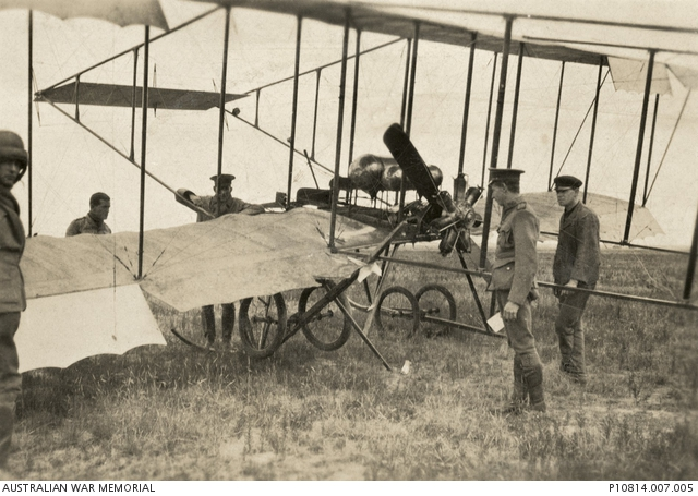Members of the Australian Flying Corps examine  a Bristol Box Kite aircraft at Point Cook, 1916  (source: Australian War Memorial)