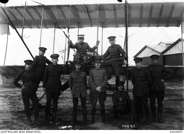 Aviators at Point Cook 1916 (source AWM)