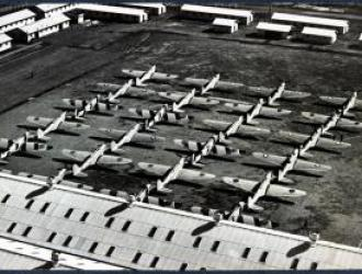 Fairey Battle Planes assembled on the grounds of the International Harvester factory in North Shore Geelong during World War II.