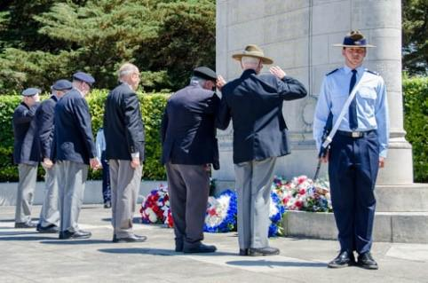Laying wreaths and paying respects